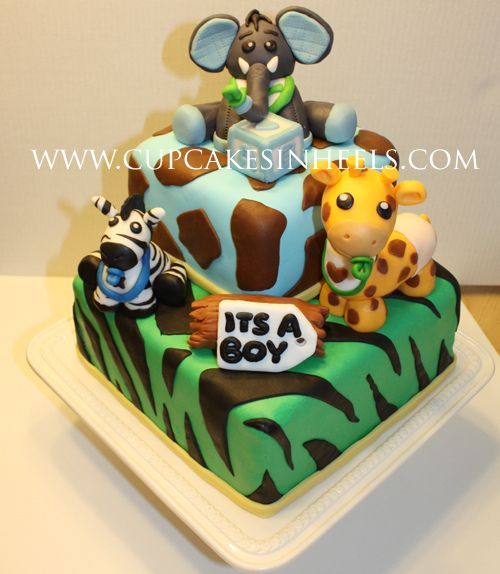 Baby Safari Animals Baby Shower Cake (elephant)