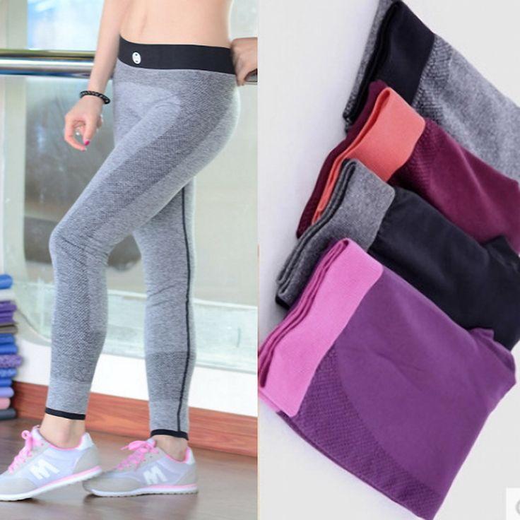 2016 del otoño del resorte de deporte Leggings gimnasio de cintura alta elástica mujeres Leggings entrenamiento Leggins pantalones en Leggings de Moda y Complementos Mujer en AliExpress.com | Alibaba Group