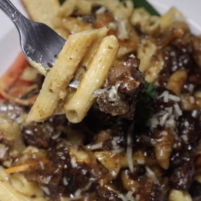 Oxtail pasta from Miss T's in Ocho Rios.