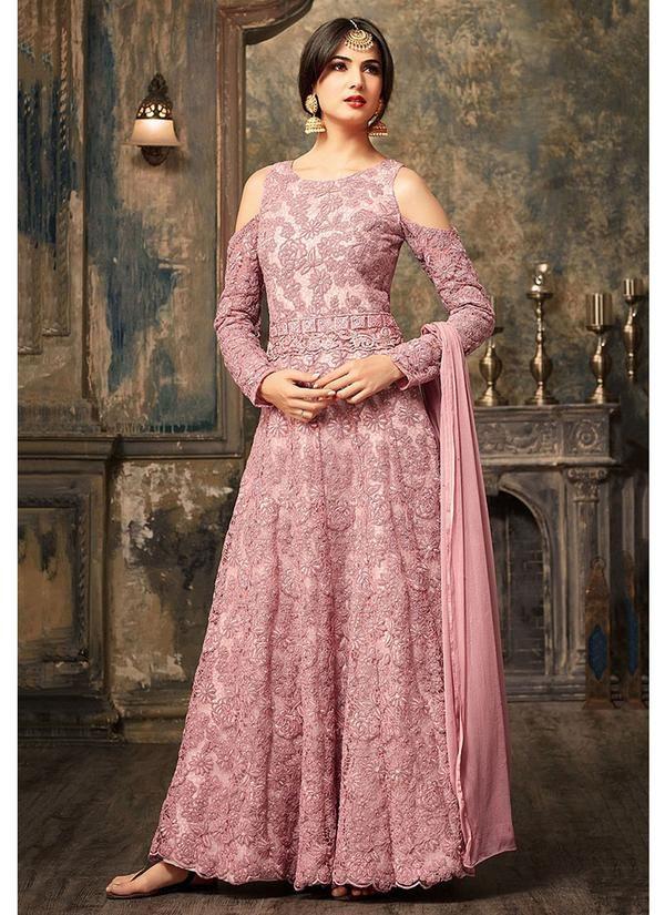 Cold Shoulder Abaya Style Suit in Light Pink