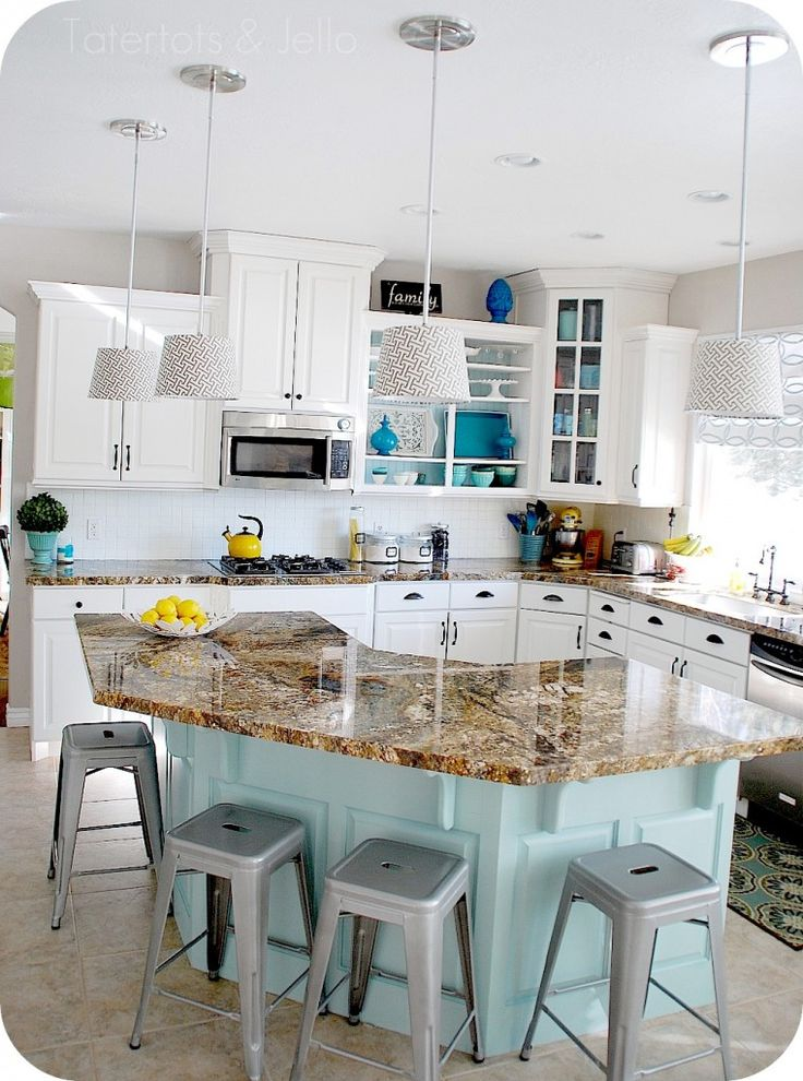 love this kitchen remodel!: Wall Colors, Decor Kitchens, Interiors Design Kitchens, Paintings Colors, Kitchens Ideas, Kitchens Islands, White Cabinets, Diy Projects, White Kitchens
