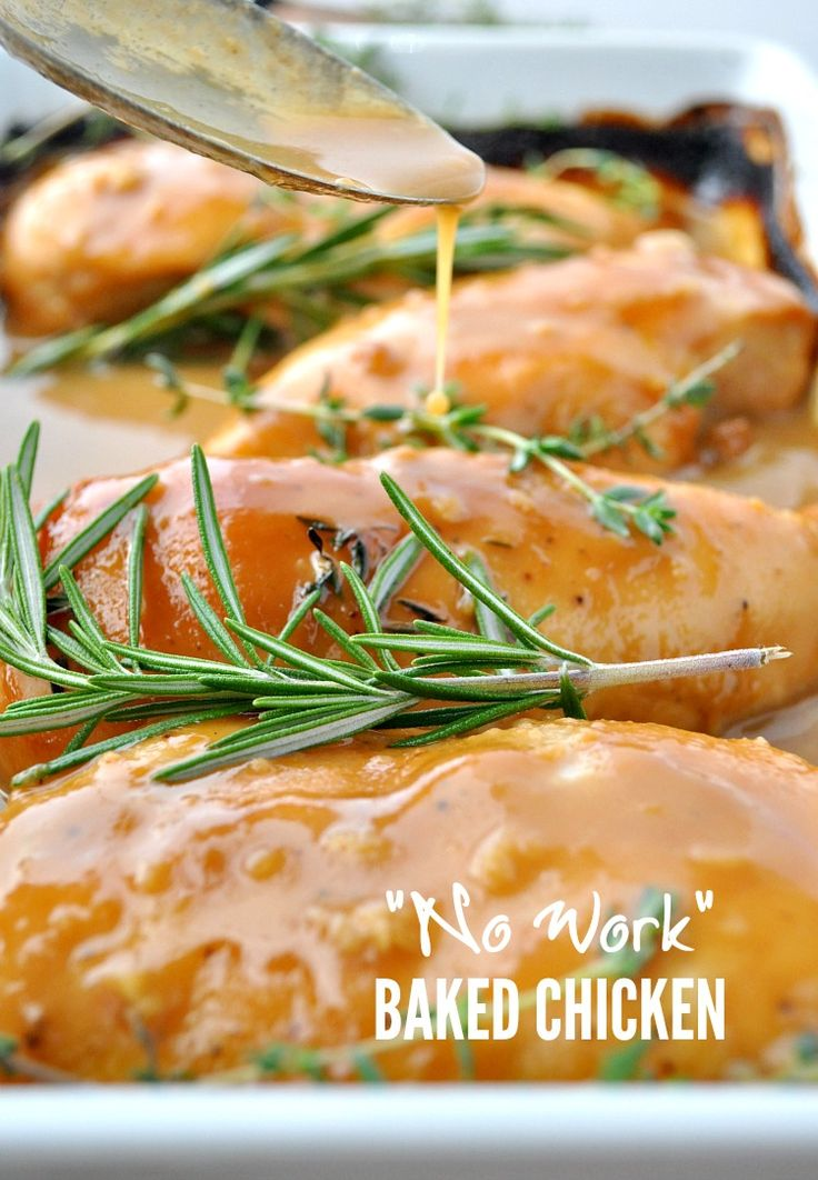 """Der Name sagt alles!  Diese """"No Work"""" Gebackenes Huhn ist ein einfaches Abendessen Rezept, die jeder liebt!"""