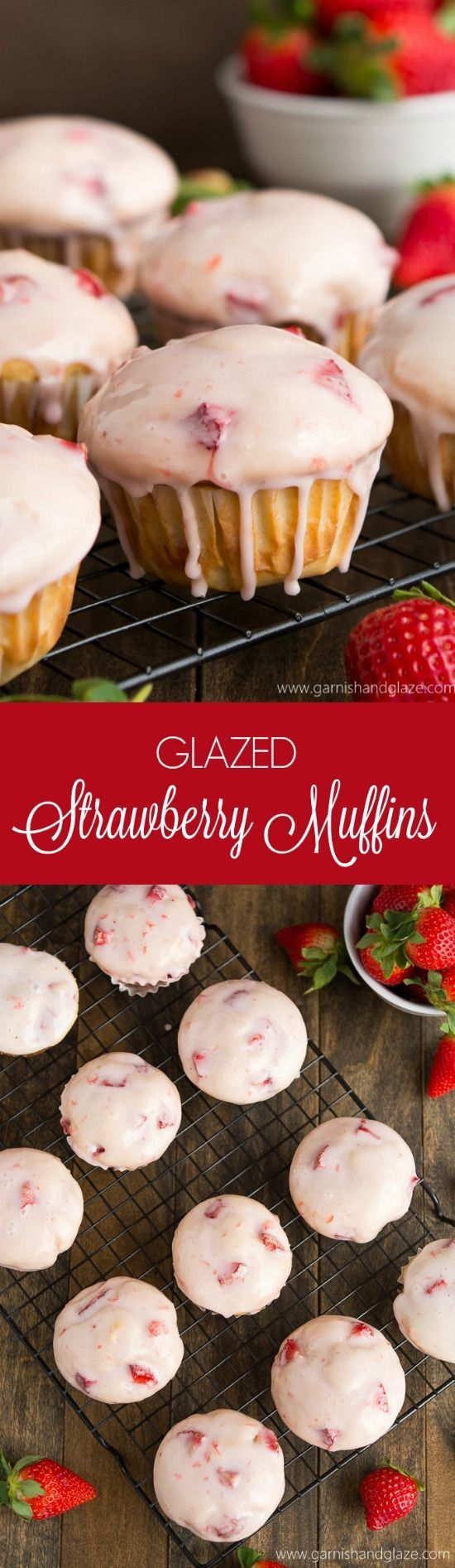 Soft and tender Glazed Strawberry Muffins are the perfect sweet treat to share on Mother's Day.