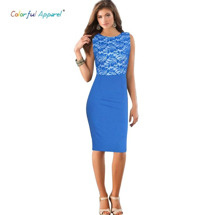 Colorful Apparel Fashion Women O-Neck Sleeveless Knee-Lenth Patchwork Lace Ladies Office Dress Pencil Party Dresses CA267A | OK Fashion