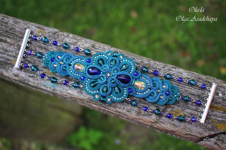 "Bracelet ""Openwork"" soutache, quartz beads, Czech glass beads, glass beads Chameleon, Japanese seed beads, lace back, metal. findings"