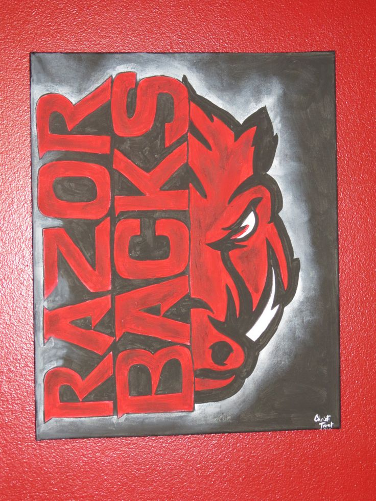 New Design! Officially Licensed Arkansas Razorback Painting by CreativiTreat on Etsy