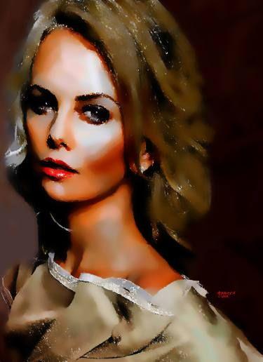 "Saatchi Art Artist CARMEN LUNA; Painting, ""32-Charlize Theron."" #art"