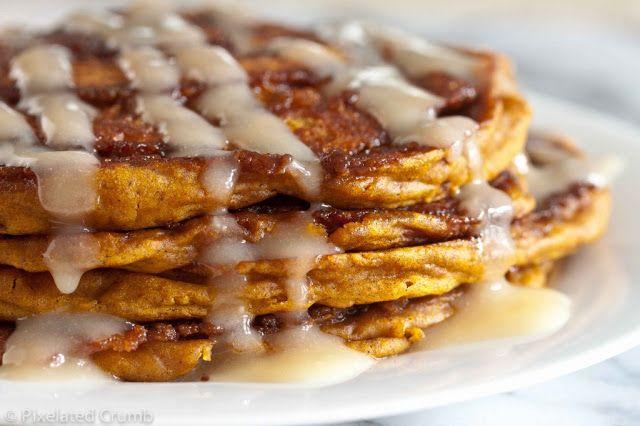 Sunday Brunch: Pumpkin Cinnamon Swirl Pancakes with Cream Cheese Glaze  My Thirty Spot