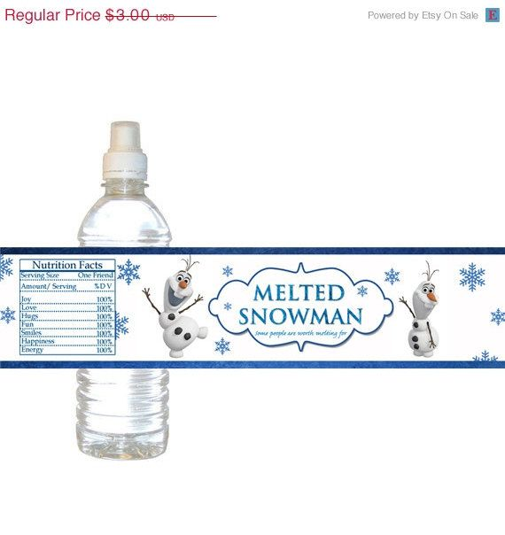 20 off sale digital frozen olaf melted snowman printable birthday party water bottle labels. Black Bedroom Furniture Sets. Home Design Ideas