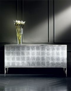 Diva Collection silver leaf buffet sideboard with a laquered finish. Shown here in laquered silver leaf with steel baroque legs.