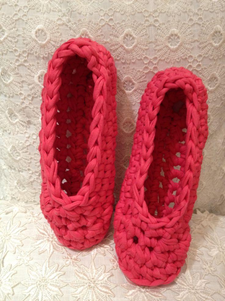 Crochet pink  ballerina slippers  Zpagetti yarn