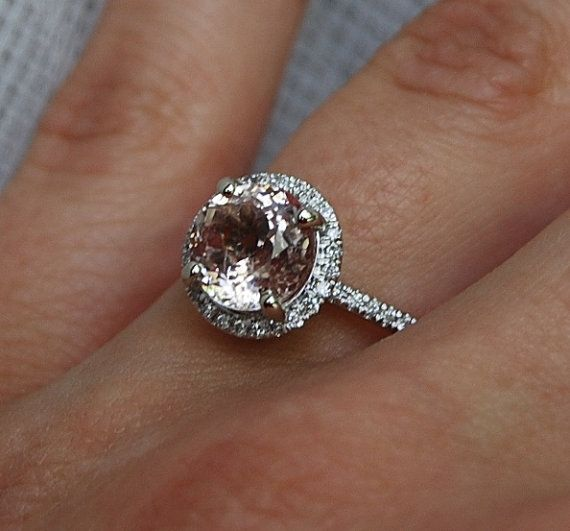 2.35ct round Peach sapphire Champagne sapphire ring diamond ring 14k white gold Engagement ring on Etsy, $2,575.79
