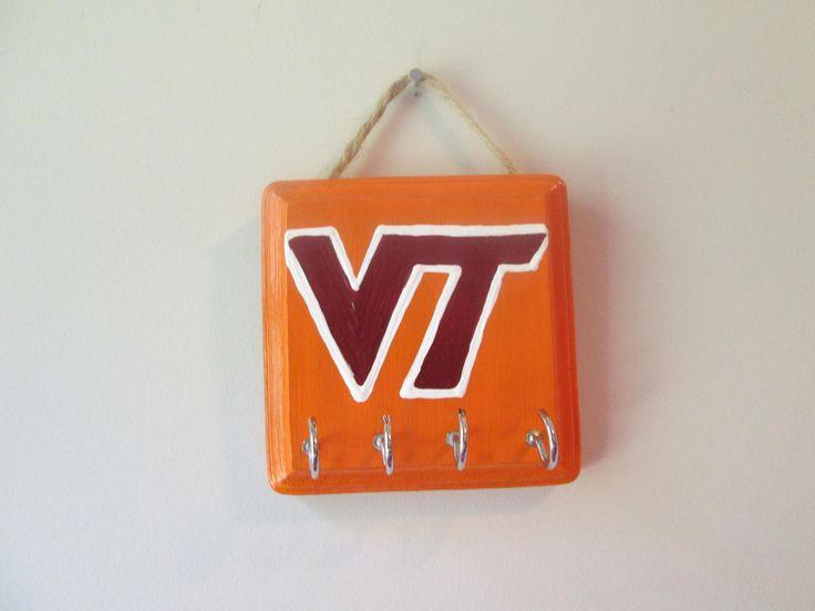 Key holder for wall, hand painted key hanger for wall, Virginia Tech Hokies by PovyArt on Etsy
