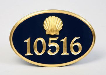 Gold-Leaf House Number Sign with Scallop Shell by Chatham Sign Shop beach style house numbers