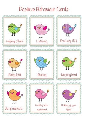 Positive behaviour cards from Little Learners- little hands and feet, big potential! on TeachersNotebook.com -  (1 page)