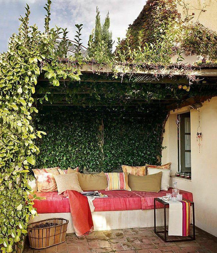 amenagement terrasse exterieur moderne dans le cour devant la maison avec lierre vert