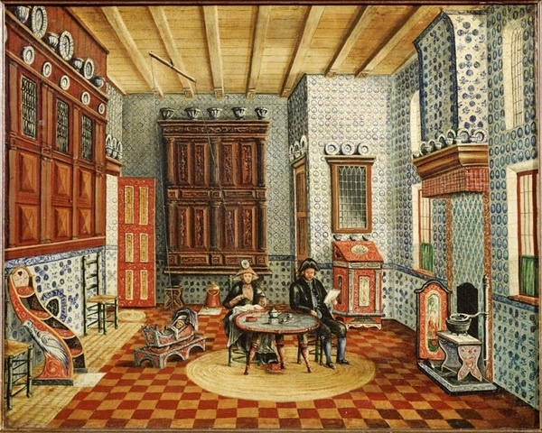 """Hindelooper interieur"" - a depiction of a home interior in Hindeloopen, today one of the eleven cities of Friesland, The Netherlands. Hindeloopen was relatively isolated until the 1900's, and since the 1200's had a strong regional seafaring tradition. Distinctive Hindeloopen art and costume in the 1600's and 1700's made the city particularly noteworthy. Hindeloopen Frisian, a Frisian dialect of Hindeloopen, is according to Wikipedia (May 5, 2012) still spoken by about 300 people."