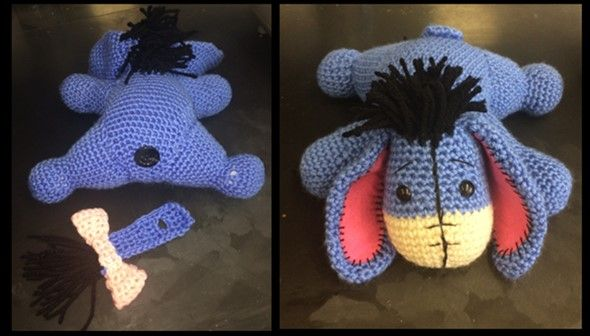 Eeyore might be the most depressed character in Winnie the Pooh. However, this crochet Eeyore sure does put a smile on my face.