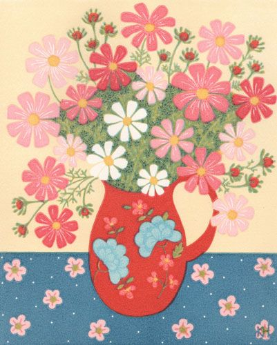 Kate Hudson Printmaker - cosmos and pink jug