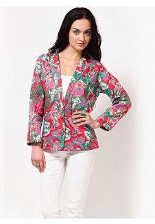 Rose & Leaf Print Single Breasted Jacket