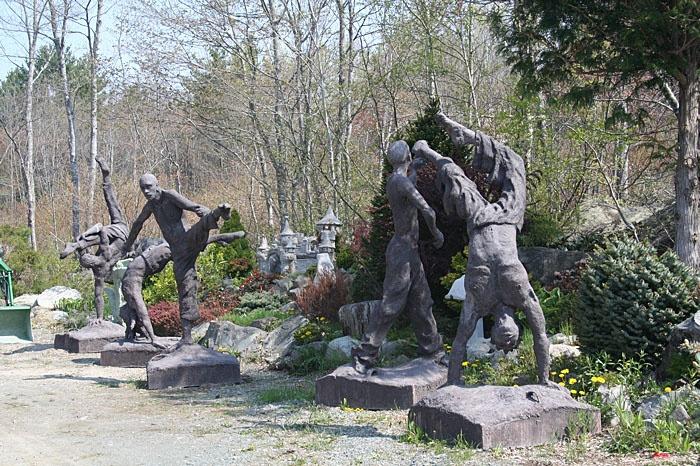 Ivan Higgins' life sized concrete sculptures, Liverpool, Nova Scotia