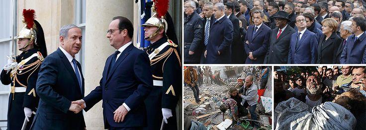 O maior assassino em atividade no mundo, o líder israelense Benjamin Netanyahu, que ordenou as mortes de 2,2 mil pessoas inocentes na última ofensiva em Gaza, incluindo idosos, mulheres e crianças (513 ao todo), além de vários jornalistas que cobriam o conflito, esteve presente na marcha deste domingo em Paris, ao lado de outros líderes mundiais; a presença de Netanyahu na marcha levanta uma questão intrigante: o que acontecerá numa Europa onde grupos xenófobos e islamofóbicos duelam com ...