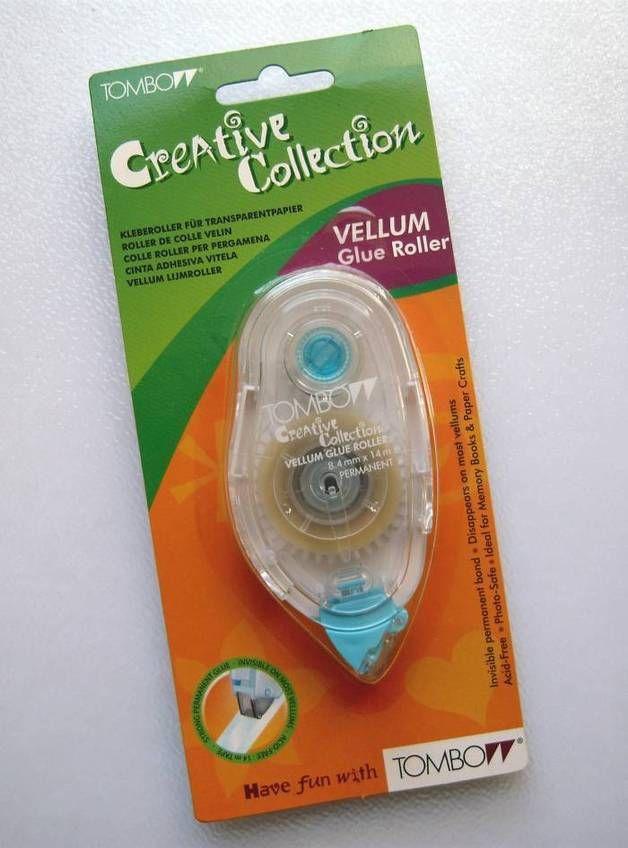 . . *Kleberoller von TOMBOW* . der Vellum-Kleberoller trägt eine Klebespur auf die auf den meisten Transparentpapieren (Vellum) unsichtbar ist . starke, dauerhafte Klebekraft ohne...