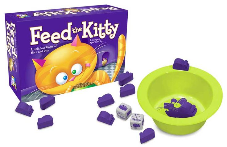 Feed the Kitty in this fun game for ages 4+ (no reading required!). Roll the dice but don't lose your mice! In this fast moving game, try to keep your mice away from the kitty. Roll an arrow and pass one to the left. Roll a sleeping cat and you're lucky to squeak by. But roll a bowl and it's dinner time for kitty! The last player left with mice wins.
