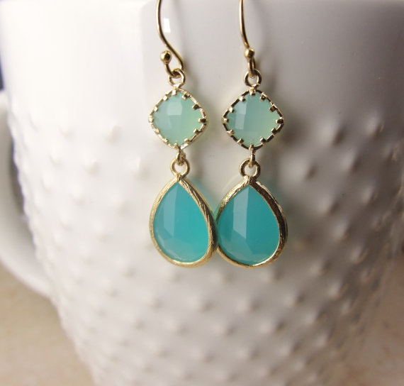 Gold framed Glass Earrings Aqua and Blue Gold by BlueSoulDesigns, $32.00