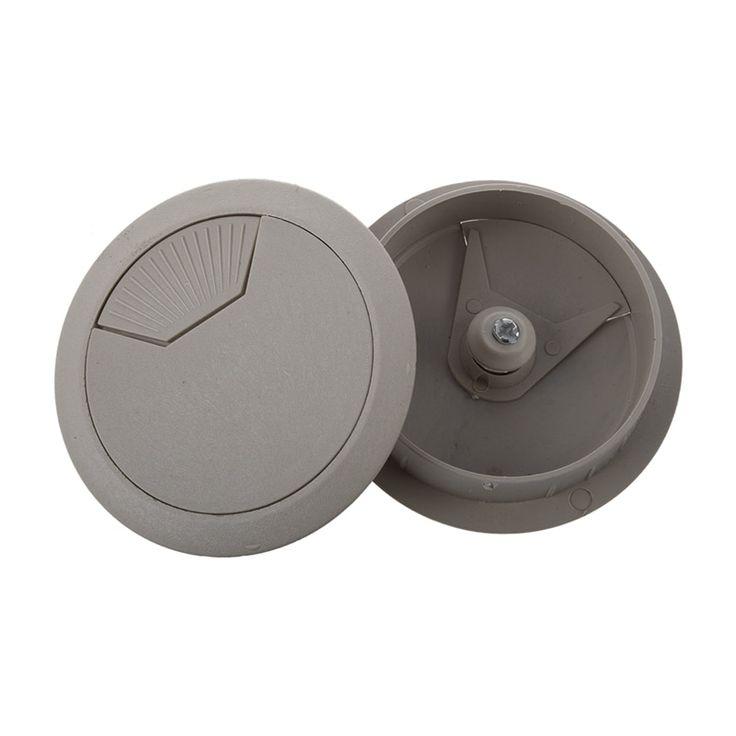 2 pcs light gray round plastic desk grommets wire hole cap