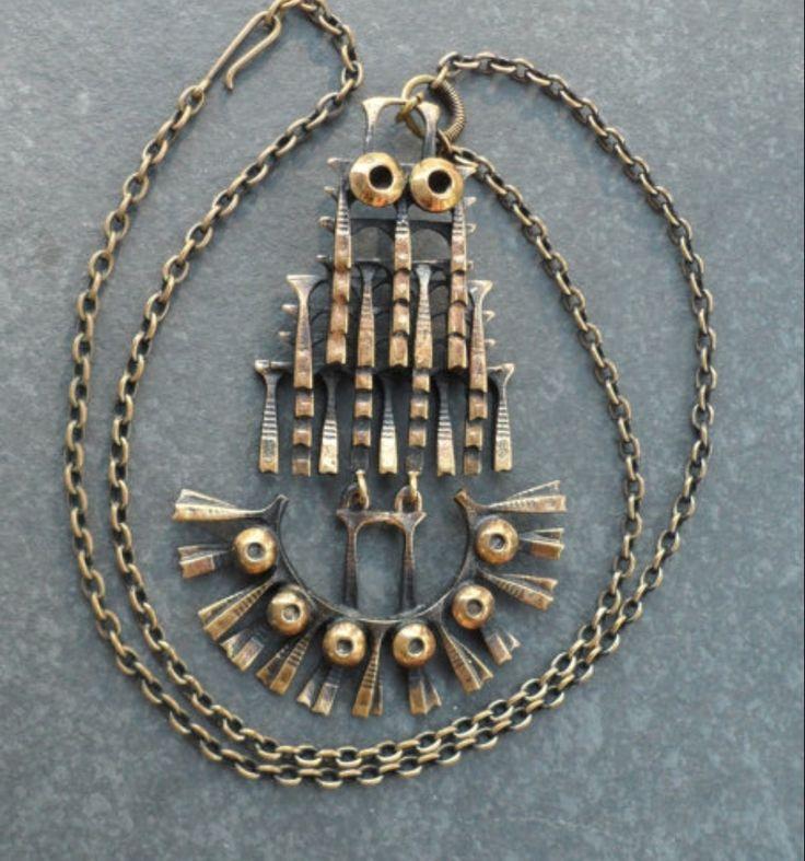 "Pentti Sarpaneva for Kalevala Koru, Vintage kinetic ""Owl"" bronze pendant, 1970's.   LifeUpNorth / Etsy.com #Finland"