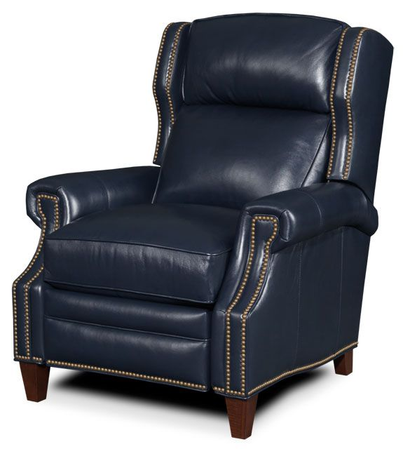 Navy blue leather recliner perfect leather recliners for Blue leather reclining sofa