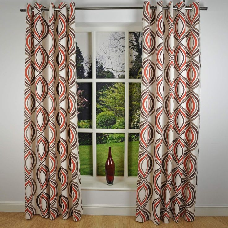 Retro Modern Geometric Print Readymade Lined Eyelet Curtains, Spice Red /  Cream   X