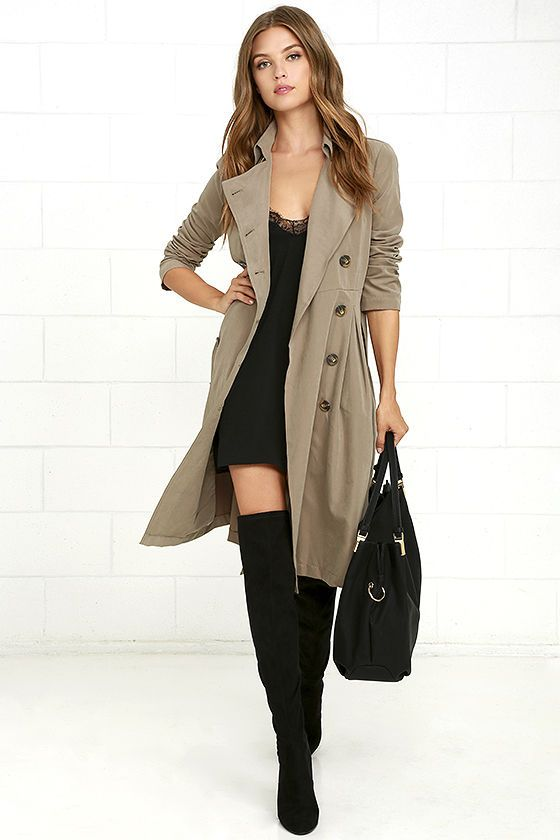 You'll never be under-prepared in the Jack by BB Dakota Wellington Taupe Trench Coat! Lightweight poly blend shapes this soft trench coat with long sleeves, a pointed collar, two rows of marbled brown buttons, and diagonal welt pockets. Classic trench details like a gun flap, storm flap, and sash belt complete this staple coat!