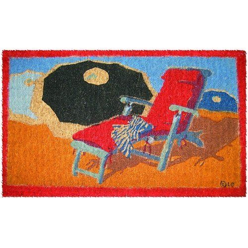 """Beach Umbrellas Extra-Thick Hand Woven Coconut Fiber Doormat, 18"""" x 30"""" by BigKitchen. $25.60. Red bordered. Abrasive and effective. Resists fading and running. Hand stenciled bleached coconut fiber. Sandy beach scene with umbrellas and chair. Add some personality to the front door and put out this coir doormat. A red bordered tropical beach scene is stenciled in a fading and running resistant ink, with a beach chair and three umbrellas. The coconut fiber construction is very..."""