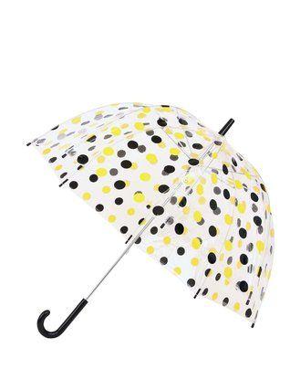 Lindy Lou - Plastový deštník  s černo-žlutými puntíky - 1