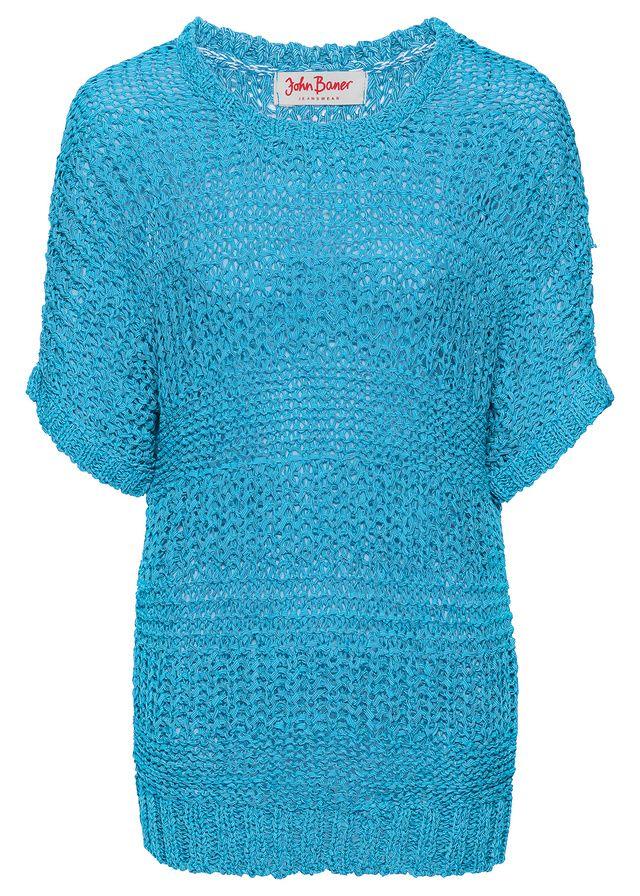 Sweter z przędzy tasiemkowej, rękawy do łokcia • 79.99 zł • bonprix