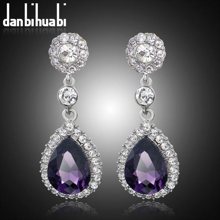 Pernikahan Gaya Indian Perhiasan Fashion Kualitas Tinggi Berlian Imitasi musim panas Bridal perak Drop Earrings untuk wanita