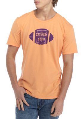 Saturday Down South Men's Short Sleeve Comfort Football Badge Tee - Melon - 2Xl