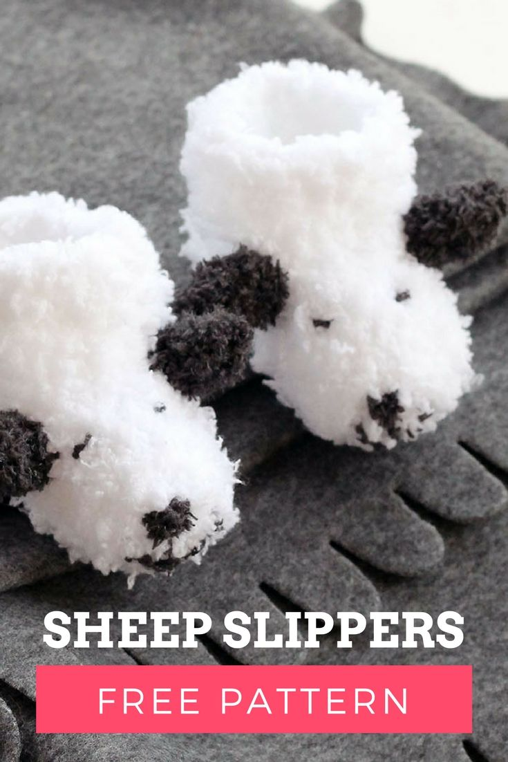 Fluffy sheep baby booties free knitting pattern. Make these easy baby slippers for baby!