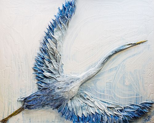 "60""x48"" Acrylic on Panel- Sculpted Series: Blue Heron- Artist, Justin Gaffrey"