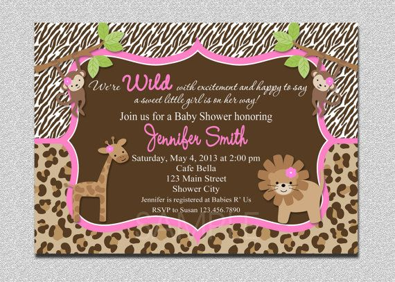 Jungle Baby Shower Invitation Safari Jungle by TheTrendyButterfly, $15.00