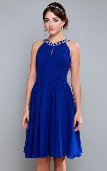 A-line Sleeveless Scoop Zipper Knee-length Evening Dresses eyaa1041