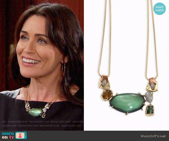 Quinn's green sparkly necklace on The Bold and the Beautiful.  Outfit Details: https://wornontv.net/85398/ #TheBoldandtheBeautiful