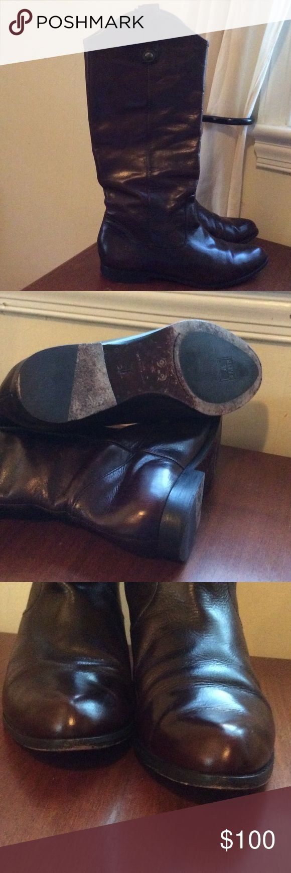FRYE Cindy pull on boots EUC dark brown boots. Similar to Melissa button but a more refined toe.Fry boots are made to last. Frye Shoes Heeled Boots