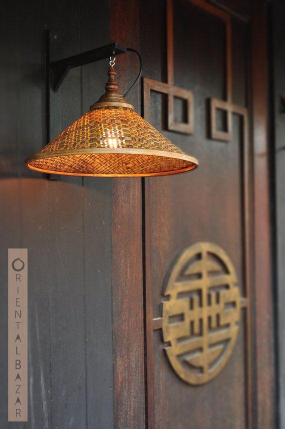 FREE SHIPPING!!! Oriental Bazar Hand-woven and Coiled Bamboo Wall Lamp Shade, Rustic Decor, Boho Decor, Bohemian Lamp, Asian Mood, Thai Lamp