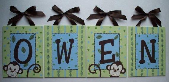 Custom canvas 8x10 name sign wall art monkey boy green leaves jungle animals door nursery kids baby