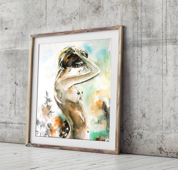 Vrouwelijke figuur aquarel Print aquarel naakt door CanotStopPrints