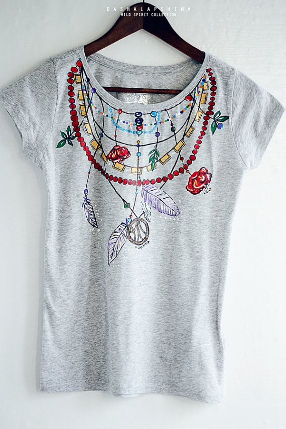 Hand painted Gray and Colorful Boho Necklace with feathers Women T-shirt: Spirit. Size S is ready to ship!