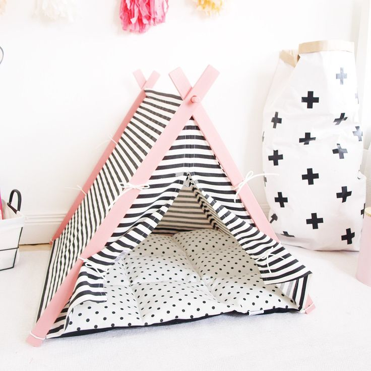 Dog and Teepee handmade luxury dog teepee in black and white stripe with pink frame